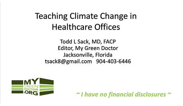 Teaching Climate Change in Healthcare Offices
