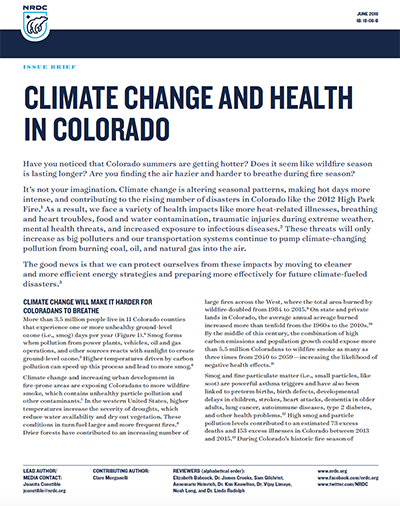 NRDC Issue Brief: Climate Change and Health in Colorado