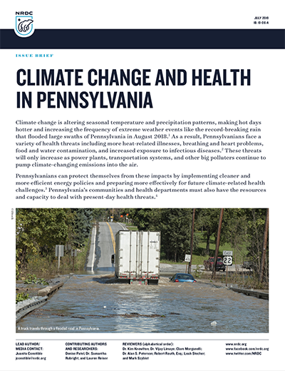 NRDC Issue Brief: Climate Change and Health in Pennsylvania