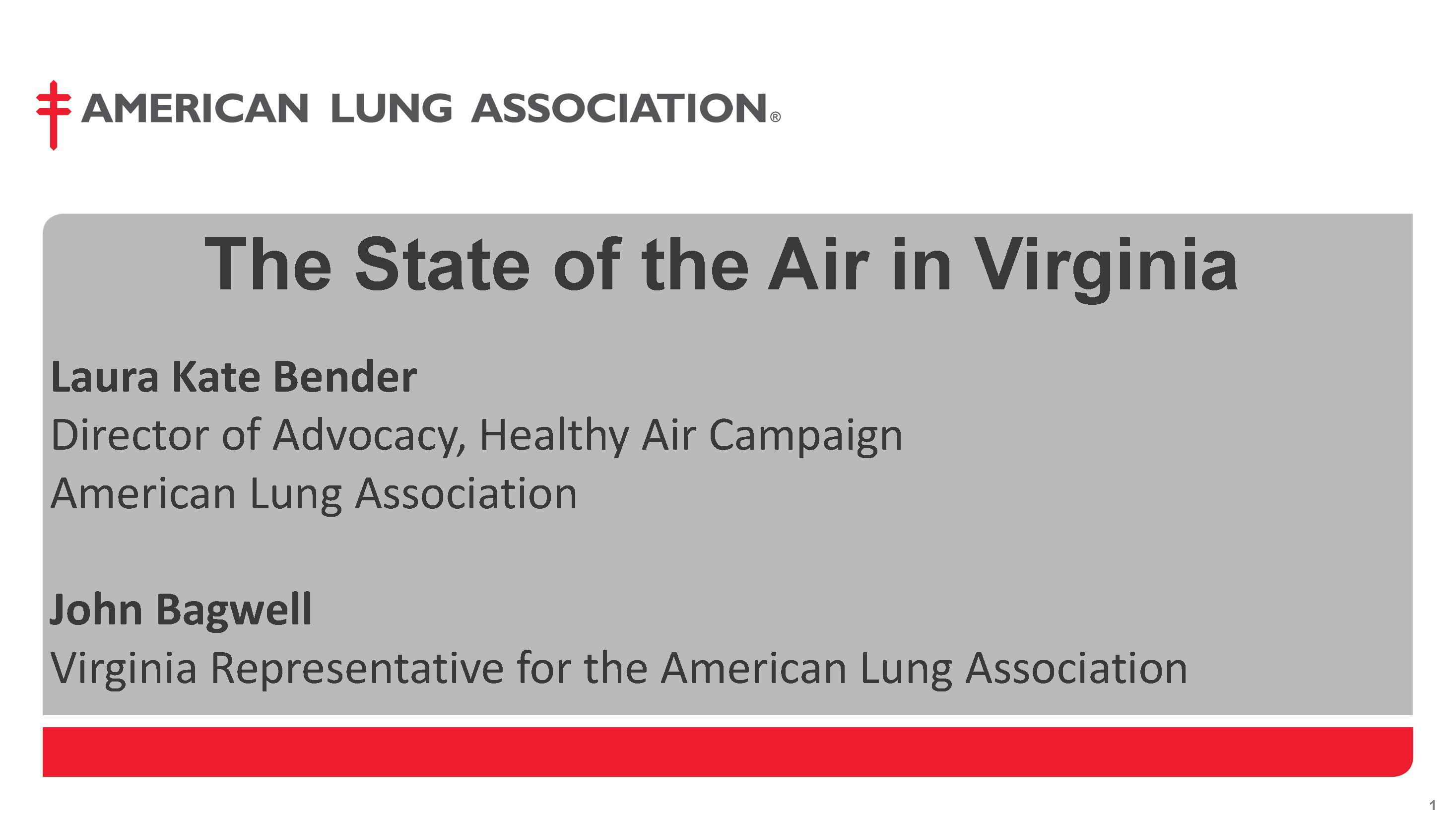 The State of the Air in Virginia
